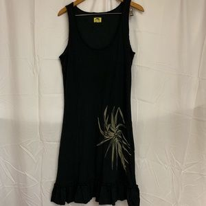 Black Kealopiko Tank Dress with 'Ie'ie Print